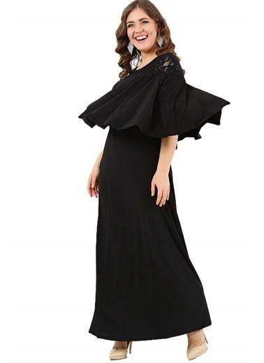 Angelino Butik Volanlı Yaka Kolları Örten Büyük Beden Uzun Abiye Elbise DD792 Siyah